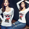 Fashion Sexy Cotton Letter Cartoon Women Winter T Shirt Red Lips Autumn Long Sleeve T-shirt Casual Party Dance Crop Tops Clothes