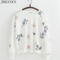 JKKUCOCO милые цветы свитшоты с бабочками женские толстовки Толстовка с длинным рукавом с круглым вырезом хлопковые пуловеры Свободные повсед
