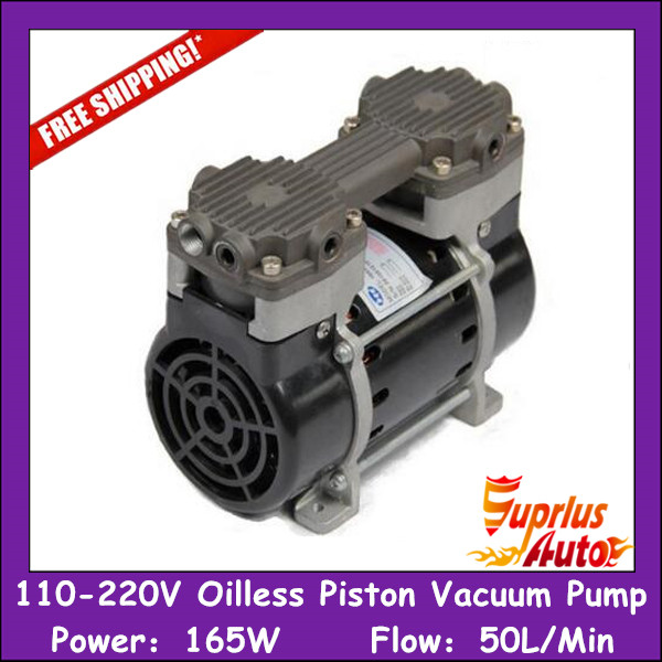 Free Shipping 110/220v Silent Oilless Piston Vacuum Pump 165W with 50L/min vacuum flow - HZW-165