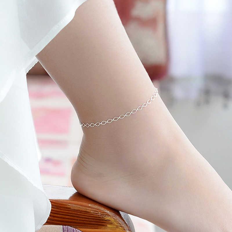 新ファッション絶妙な小卵型の足首チェーン 925 スターリングシルバーシンプルなチェーン女性ジュエリーアンクレットブレスレット