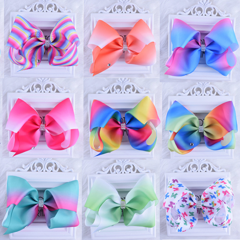 8 Inch Extra Large Rainbow Bow Clip Boutique Grosgrain Rhinestone Hair Ribbon Bows Barrettes HairPins For Girls складной нож voyager clip extra large plain cts bd1 alloy