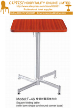 Cocktail coffee Square folding table stainless steel base MDF top kd packing 1pc carton fast delivery