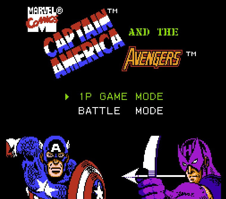 Captain America and The Avengers Game Card For 72 Pin 8 Bit Game Player