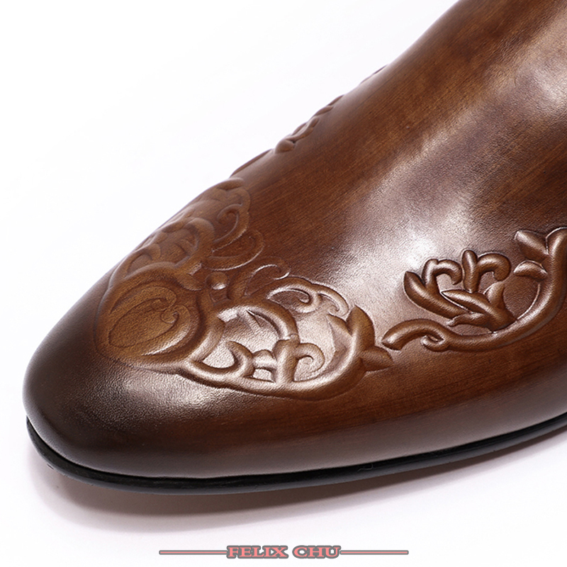 ELEGANT MEN CASUAL SHOES LOAFERS LEATHER SHOES MEN OFFICE BROWN COFFEE SLIP ON FRETWORK PRINT FASHION MEN CASUAL SHOE NEW SPRING-in Men's Casual Shoes from Shoes    3