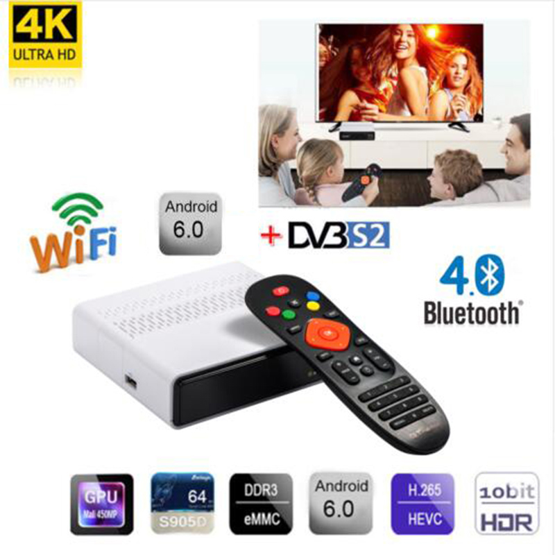 FREESAT GTS <font><b>Android</b></font> 6.0 4K <font><b>TV</b></font> <font><b>BOX</b></font> Combo <font><b>DVB</b></font>-<font><b>S2</b></font> <font><b>Satellite</b></font> <font><b>Receiver</b></font> 1 year <font><b>cccam</b></font> gift 2/8GB Amlogic S905D BT4.0 IPTV Set Top <font><b>box</b></font> image