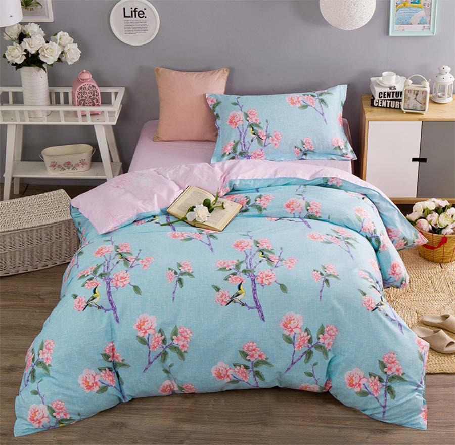 Gratis forsendelse Moderne blå blomst sengetøj sengetøj sæt-4876