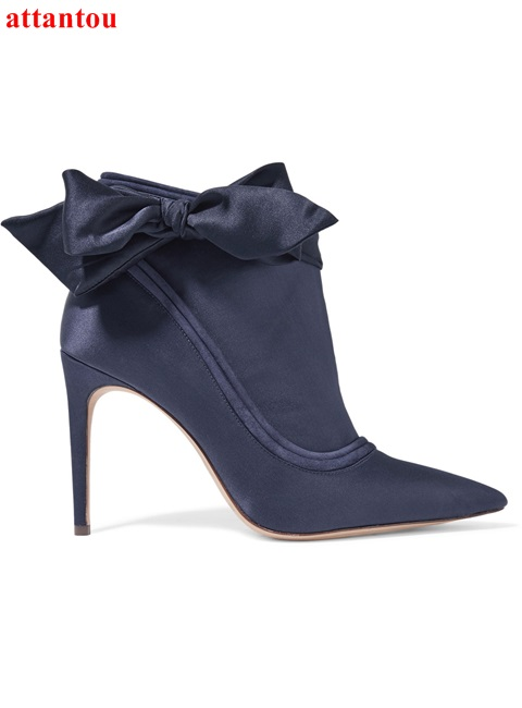2018 Spring Fashion Deep Purple Satin Ankle boots Bowknot Pointed Toe Woman Short Boots breathable elegant female dress shoes