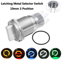 19mm 3 Position 12V Waterproof Stainless Steel Latching Metal Selector Knob Switch Metal Rotary Push LED Button(China)