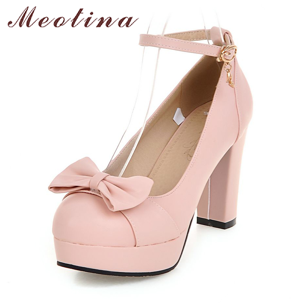 Meotina High Heels Shoes Women Wedding Shoes Platform High Heel Pumps Ankle Strap Bow Spring 2018 Shoes White Pink Big Size 43 meotina high heels shoes women wedding shoes platform high heel pumps ankle strap bow spring 2018 shoes white pink big size 43