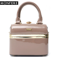 MONFERE Fashion Patent Leather Luxury Pu Women's Handbags Box Rhinestones Shoulder Bag Party Purse Bags Famous Brand Design Bag