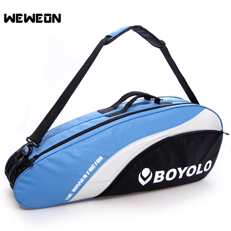 Women Men Shoulder Badminton Racket Bag Nylon Dual Rackets Carry Bag for Badminton Professional Sports Athletic Racquet Bags
