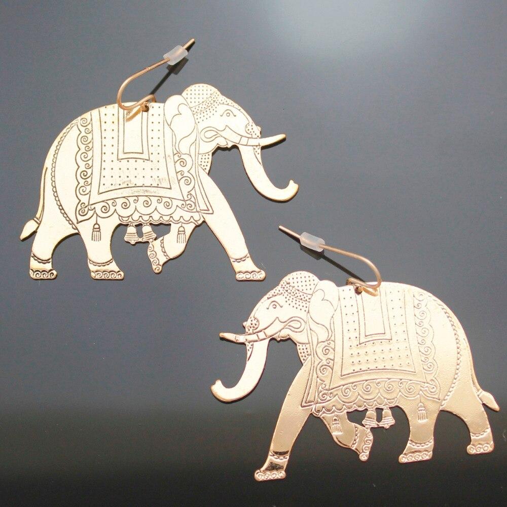 Tropical Beach Festival Gold Etched African Elephant OM Hindu Ganesha Ganesh Dangle Earrings Oorbellen Jewelry Orecchini 2018 african elephant