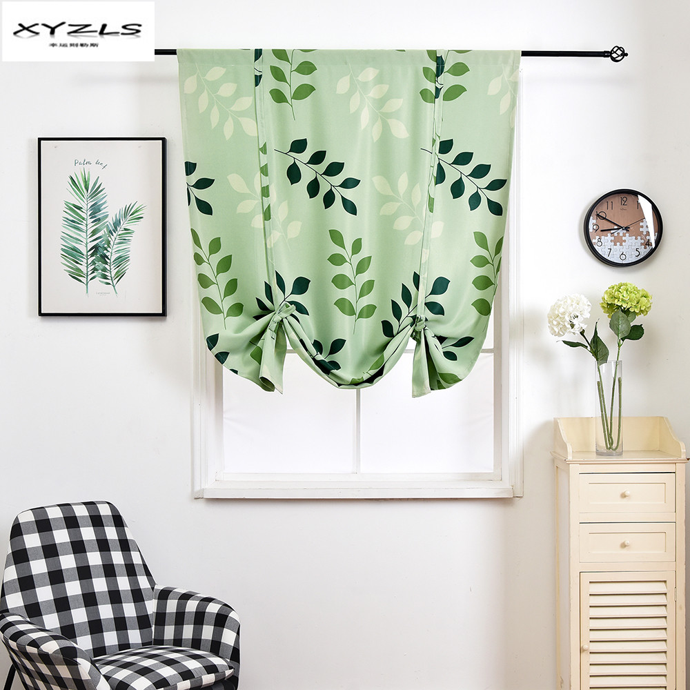 XYZLS Kitchen Short Curtains Leaves Printed Roman Blinds ...