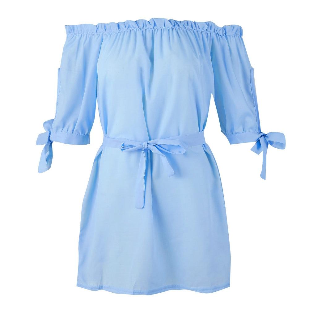 Yienws Women Summer Dress 2019 Elegant Butterfly Robe Femme Sexy Off Shoulder Dresses Women Bandage Beach Dress Jurken YiG075 in Dresses from Women 39 s Clothing