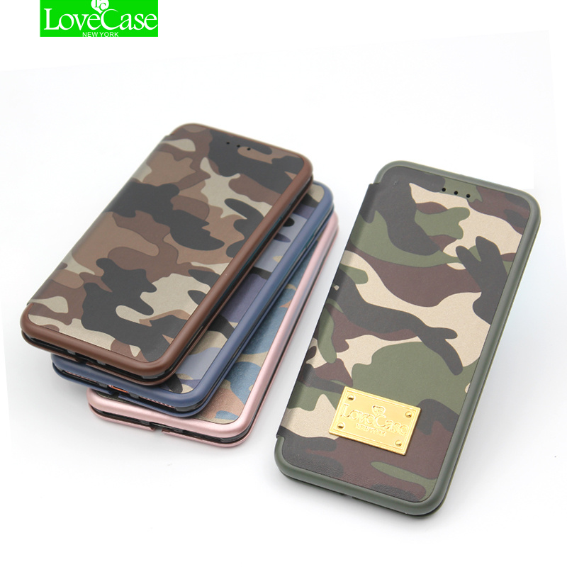 LoveCase Original S8Plus Army Camouflage Phone Cover Case For galaxy S7 edge S8 Plus note8 Case Seashell Flip PU+PC phone bag