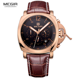 Image 4 - Megir 3006 メンズファッションクォーツ時計防水腕時計革ストラップ時計男送料無料