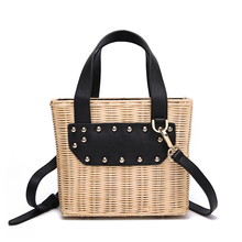 High-grade top layer cowhide with handmade rattan, wood bag, woven summer vacation high quality rattan