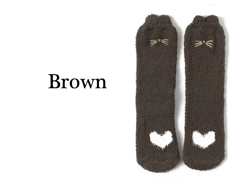 Ladies Winter Japanese Embroidery Animal Corals Velvet Stereo Ear Thick Warm BedS Bed Home Fluffy Socks Coral Velvet Foot Cover (5)