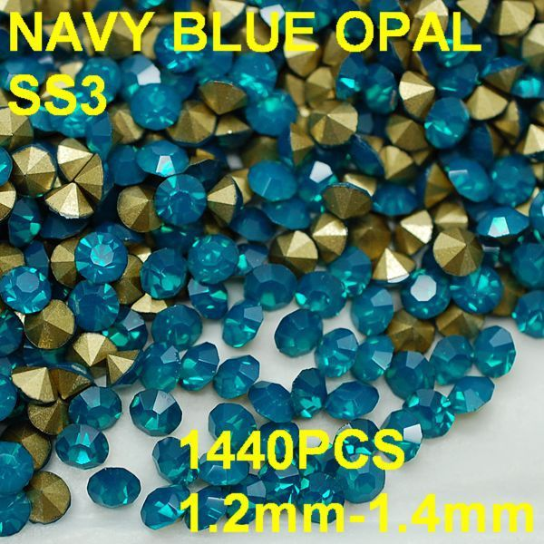 SS3 1440pcs/lot 1.2mm-1.4mm  New Design Blue Crystal Opal Rhinestone 3D Rhinestones Golden Pointback Non Hotfix for Nail Art