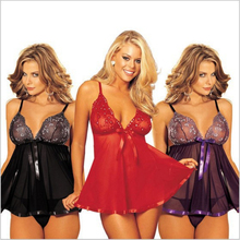 ERFSQIYALHJ Sexy Lingerie Hot Erotic Lace Babydoll Transparent Garter Pajamas Female Nightgown Underwear Sex Dress