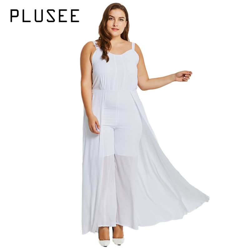Plusee Over Size Solid White Jumpsuit Strap Sleeveless Women Jumpsuits Casual Empire Summer Jumpsuit XL-5XL Plus Size