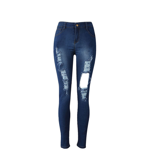 New low waist slim stretch pants pants personality big hole jeans women fashion casual commuter jeans