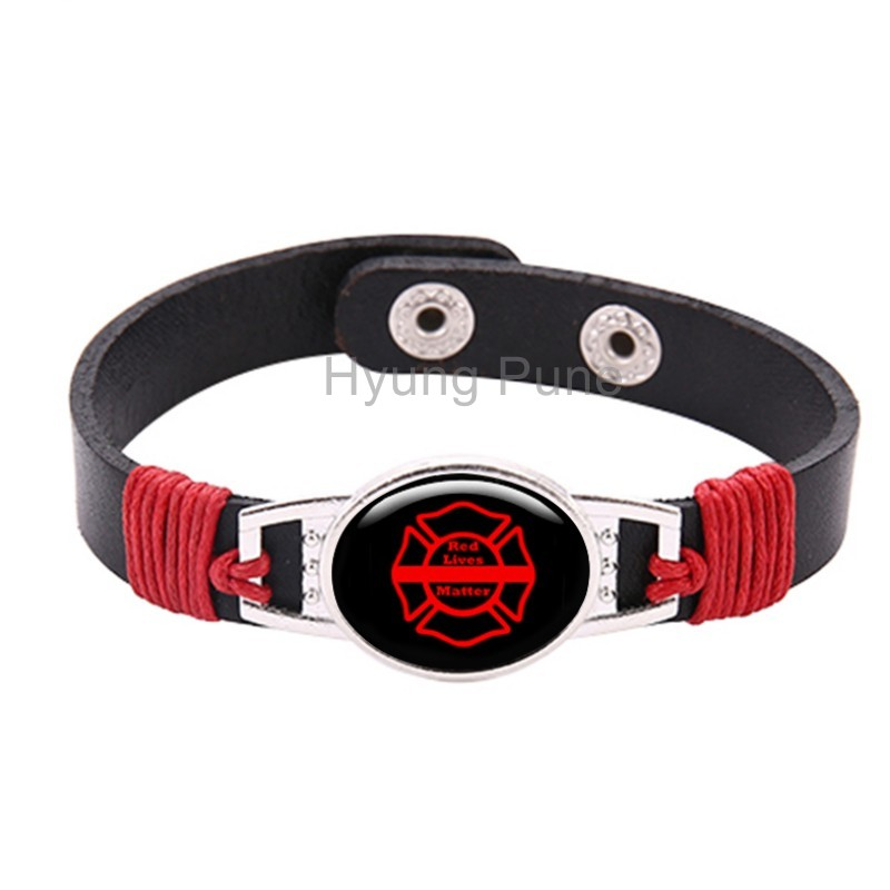 Adjule Black Leather Snap On Red Firefighter Lives Matter Thin Line Bracelet For Men Women Drop Shipping In Charm Bracelets From Jewelry