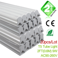 20pcs Lot 2ft T5 LED Tube Light 600mm 9W 800LM CE RoSH 2 Year Warranty SMD2835