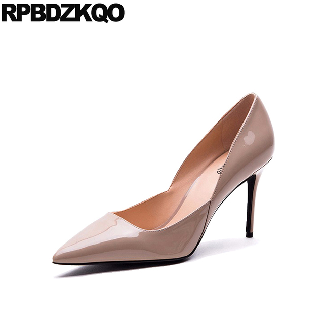 Nude Patent high heel court shoes with metal stiletto heel JMSZwy4nh