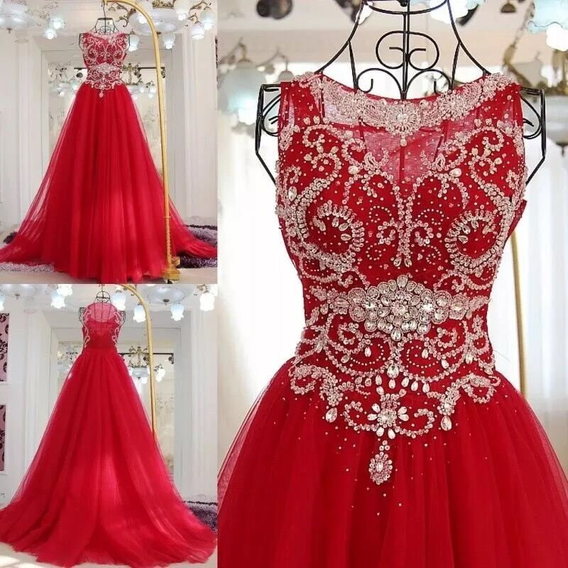 Red Luxury Ball Gown Tulle Crystal Beaded Stones 100 Real Photo 2019 New Evening Dress Party