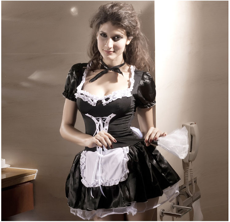 Suspenders Exotic Servant Cosplay Dress Festival French Maid Servant Costume erotic lingerie hot Late Nite Maid Outift 8181