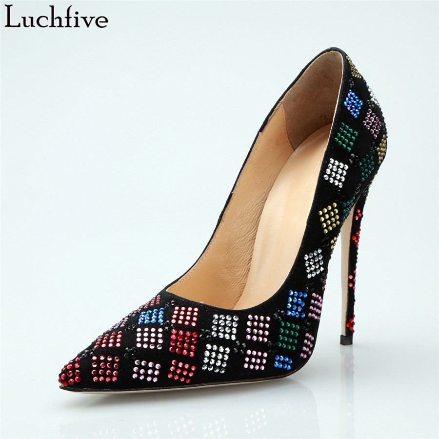 Luchfive Suede Square Shaped Crystal Pumps Women Sheepskin Insole Pointed Toe Super High Heels Runway Office Party Single ShoesLuchfive Suede Square Shaped Crystal Pumps Women Sheepskin Insole Pointed Toe Super High Heels Runway Office Party Single Shoes