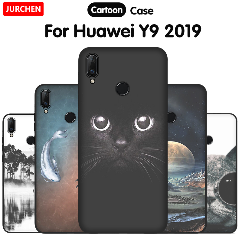 JURCHEN Soft TPU <font><b>Cover</b></font> For <font><b>Huawei</b></font> <font><b>Y9</b></font> <font><b>2019</b></font> <font><b>Case</b></font> Cartoon Cute Design Silicone Phone <font><b>Case</b></font> For <font><b>Huawei</b></font> <font><b>Y9</b></font> <font><b>2019</b></font> <font><b>Cover</b></font> Matte Black 6.5