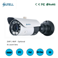 zk18 Sunell HD 2MP / 4MP 1080P 4x Zoom Varifocal Lens Onvif POE IR Dome Network IP Security Smart CCTV Camera Vandalproof