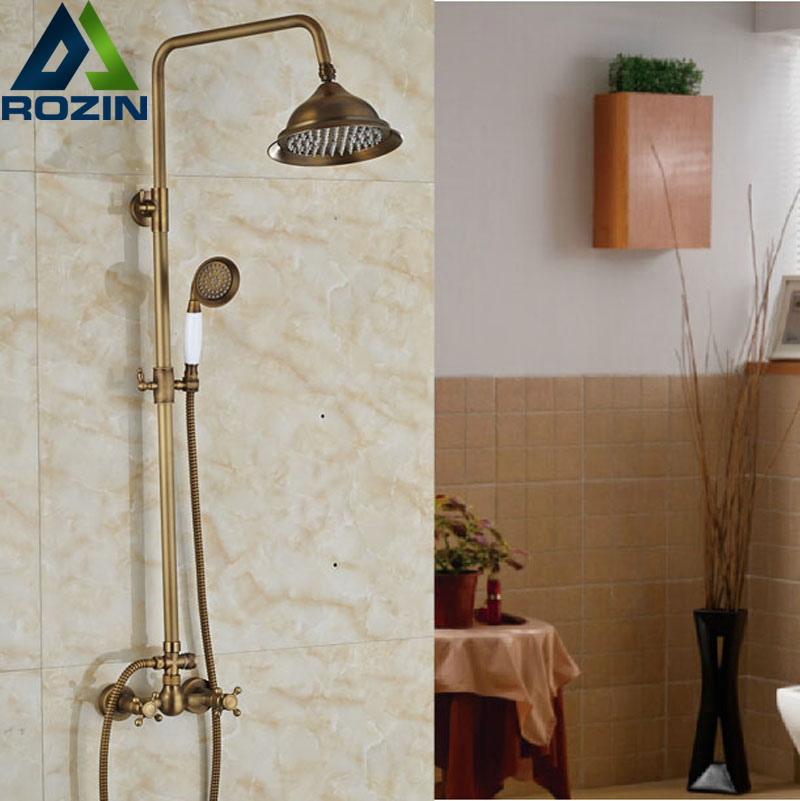 Antique Brass Bath Shower Faucet with 8 Inch Shower Head + Hand Shower Wall Mount Two Corss Handles