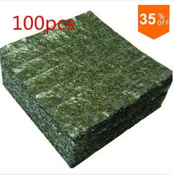 100 шт. суши нори морские водоросли, оптовая продажа с фабрики, качество AAA, темно-зеленая вторичная выпечка Нори Суши algues, Самые продаваемые Нори Суши-0
