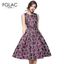 FGLAC New 2017 Spring women dress Fashion Elegant Slim Sleeveless Jacquard party dress European style temperament Vintage dress
