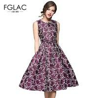FGLAC summer dress Hot sale Fashion Elegant Slim Sleeveless Jacquard party dress European style temperament Vintage dress