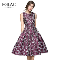 FGLAC New 2017 Spring Women Dress Fashion Elegant Slim Sleeveless Jacquard Party Dress European Style Temperament