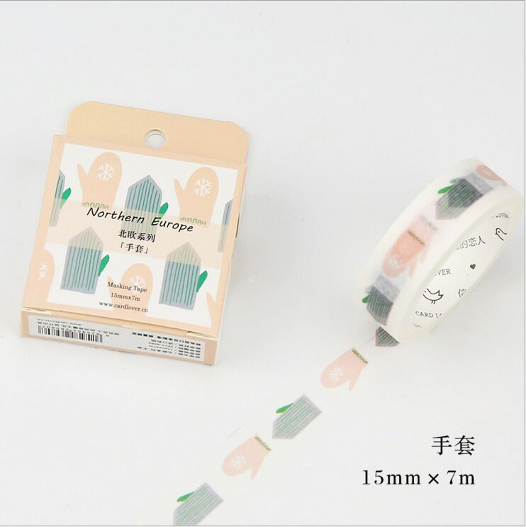 Northern Europe Colorful Glove Washi Tape DIY Diary Decoration Planner Scrapbook Sticker Label Masking Tape packaging and labeling