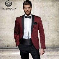 כפתור אחד בסגנון אופנה LN051 בורגונדי נשף החתונה של חתן Tuxedos השושבינים גברים חליפות חתן (Jacket + מכנסיים + חגורה + עניבה)