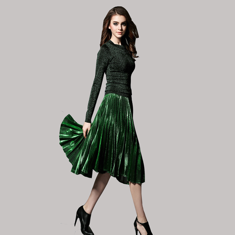 f505b27202 2016 Early Spring New Bright Stretch Knit Top and Gold Pleated Skirts Women  2 piece Set Bling Glitter Midi Skirt Tops Suit JA359-in Women's Sets from  ...