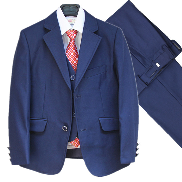 Blue Baby Formal Dress Suits Blazers Vest Pant Belt 4Pcs child Blazers suits  Children costumes Kid Boy Clothing Sets 4 13Years-in Suits from Mother    Kids ... 796ba5daf