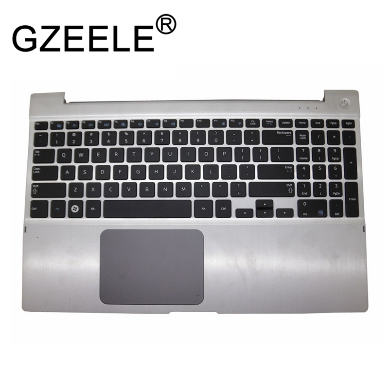 GZEELE new palmrest for SAMSUNG NP700Z5 NP700Z5A NP700Z5B NP700Z5C Upper Case US Keyboard with Housing Laptop Touchpad Silver genuine new palmrest cover upper case with touchpad us korean keyboard gray for samsung laptop np530u4b np530u4c np535u4c
