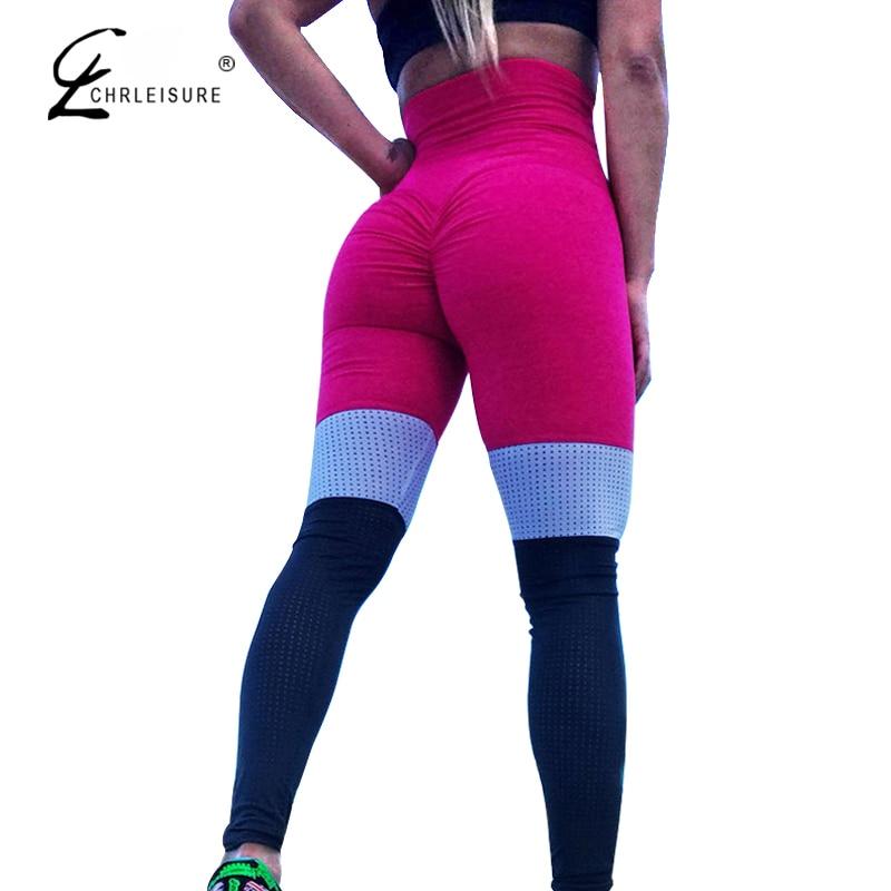 CHRLEISURE High Waist Mesh Leggings Fitness Women Push Up Leggings Activewear Patchwork Legging Workout Jeggings Clothing S-XL