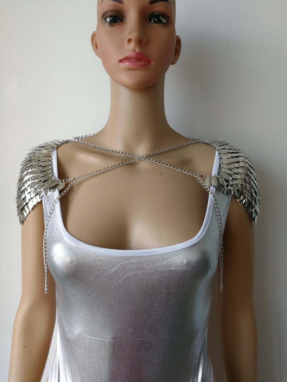 New Fashion Style B755 Silver Scalemail Mermaid Fish Scales Shoulder Chains Layers Shoulder Body Chains Jewelry 2 Colors-in Body Jewelry from Jewelry & Accessories    1