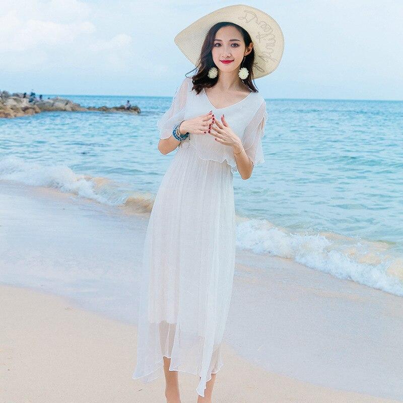Vestido de seda 2019 primavera verano Mujer s largo casual sexy chifón vestidos bohemios de playa de talla grande Hada blanca elegante - 3