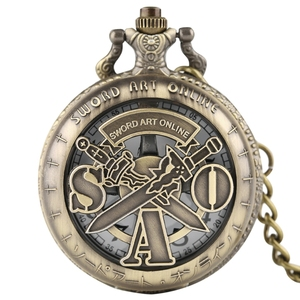 Кварцевые карманные часы в ретро стиле SAO Sword Art Online, мужские и женские часы с подвеской, Детские аналоговые кварцевые часы с цепочкой, подарк...