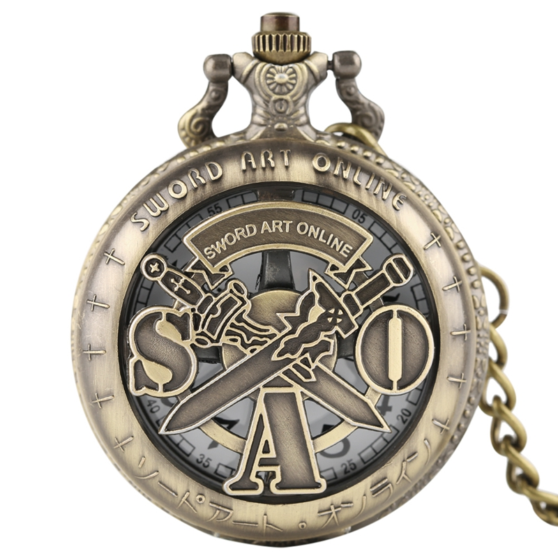 Retro SAO Sword Art Online Quartz Pocket Watch Men Women Necklace Pendant Kids Analog Quartz Chain Gifts Bronze FOB Hollow Clock