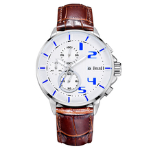 Business Men Watches Men Waterproof & Chronograph Leather Band Quartz Wrist Wristwatch Military Male Clock Free Shipping
